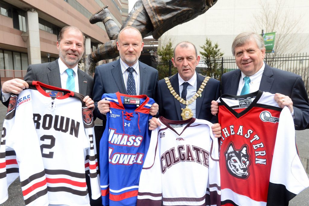 Pictured at the launch event in Boston is Stephen Hagwell, ECAC Hockey Commissioner, Eric Porter, Chairman of the Odyssey Trust, Lord Mayor of Belfast, Councillor Arder Carson and Joe Bertagna, Hockey East Commissioner.