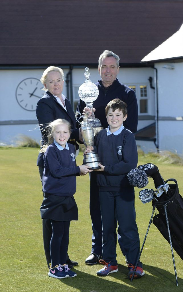 PRIZE PUPILS:  Katie Curran and Daniel Jennings from St MaryÕs Primary School in Newcastle joined Antonia Beggs from The European Tour and Kevan Whitson, Head Golf Professional at Royal County Down, to launch the first ever Irish Open Trophy Tour competition which will give four lucky schools across the island of Ireland an historic opportunity to host a visit not only from the Dubai Duty Free Irish Open Trophy BUT ALSO the world famous ÔClaret JugÕ,