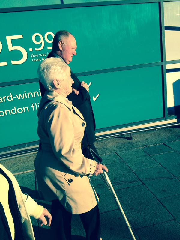 Mary Heenan and her son Eugene leaving Belfast for London today.  PIC: Relatives For Justice