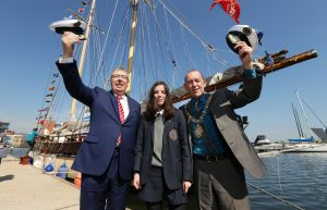Lord Mayor of Belfast, Councillor Arder Carson is pictured with Dr Gerard O'Hare, Chairman of Belfast Tall Ships Ltd and ship trainee Aine Wills. PIC: KELVIN BOYES/ PRESSEYE
