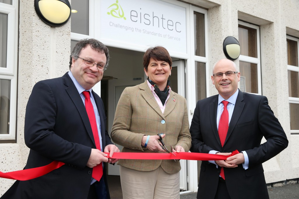 Enterprise, Trade and Investment Minister Arlene Foster and Minister for Employment and Learning, Dr Stephen Farry are pictured with Colm Tracey, Eishtec Ltd Operational Director, after announcing that the company is setting up a customer service centre in Craigavon that will create up to 320 jobs over the next three years. PICTURE: By Kelvin Boyes  / Press Eye.