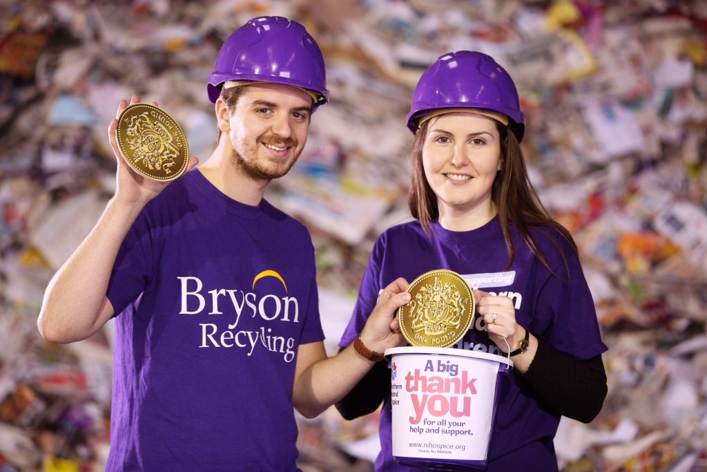 Declan Reynolds from Bryson Recycling and Eva Toil from the NI Hospice announce the fundraising total of £6482 from the annual £1 a tonne' campaign, which will go towards the Hospice rebuild at Somerton Road,  in Belfast.
