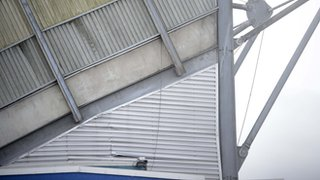 The cracked structure in the West Stand at Windsor Park