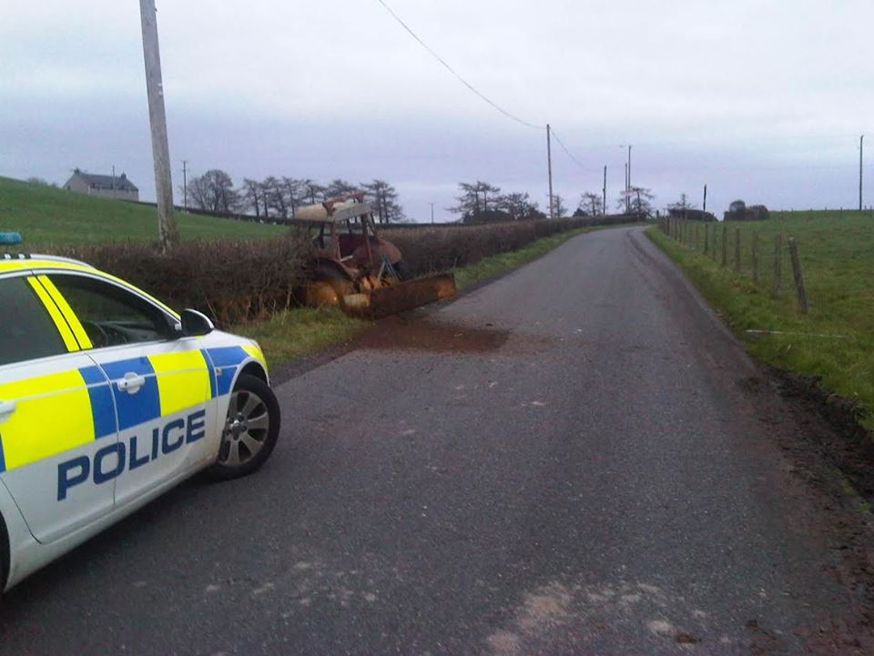 The stolen tractor found crashed into a ditch