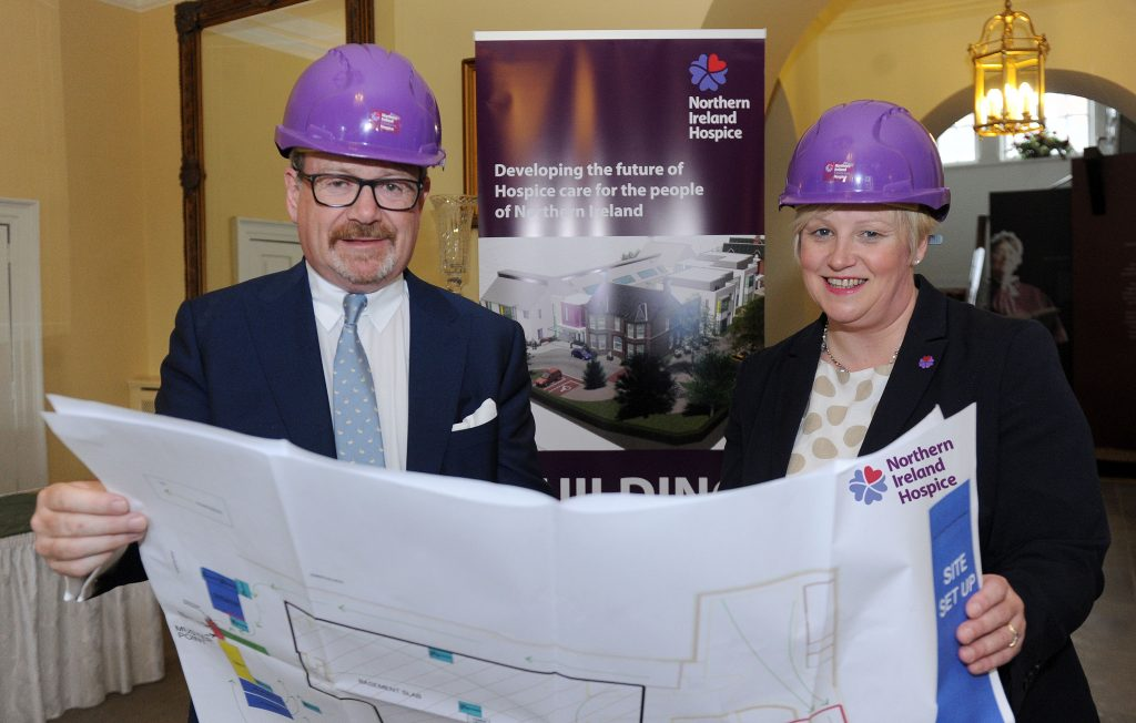 (l-r) David Watters, Chair, Belfast Charitable Society and Heather Weir, Chief Executive, Northern Ireland Hospice, view plans for the new £13m Northern Ireland Adult Hospice, which were boosted this week by a £100,000 donation from the Belfast Charitable Society. The donation is part of a three-year partnership with Belfast Charitable Society, which has pledged a total of £250,000 to support NI Hospice care and research into end of life care in Northern Ireland. Picture: Declan Roughan, Presseye.