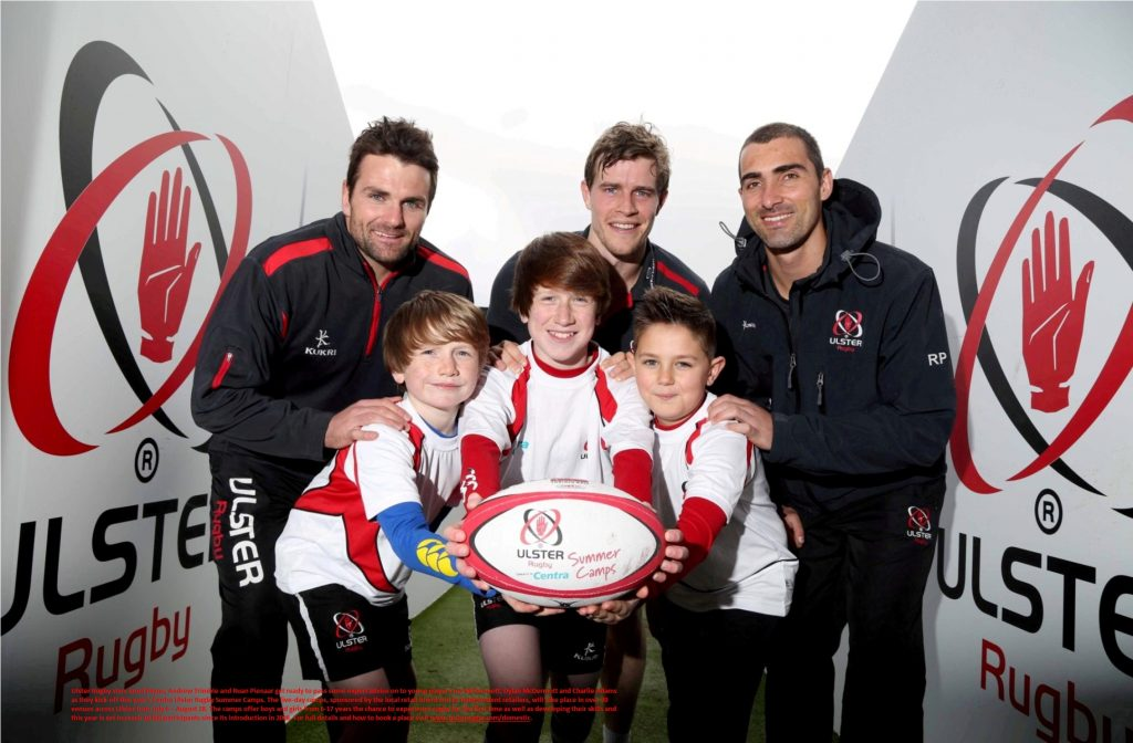 lster Rugby stars Jared Payne, Andrew Trimble and Ruan Pienaar get ready to pass some expert advice on to young players Joe McDermott, Dylan McDermott and Charlie Adams as they kick-off this year's Centra Ulster Rugby Summer Camps.