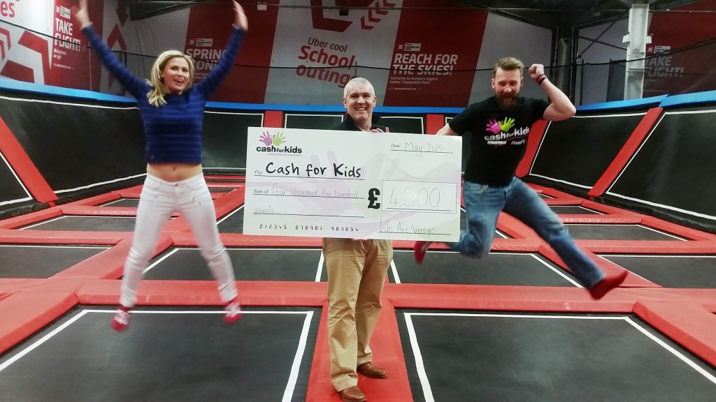 JUMPING FOR JOY… Gareth and Lorna Murphy from We Are Vertigo, Northern Ireland's first trampoline park, join Darren Fowler from Cash for Kids to handover a £4.5k donation as part of the charity's recent Superhero Day.  This year Cash for Kids is supporting Mencap Northern Ireland and the money donated by We Are Vertigo will be used to purchase a specially designed trampoline for Segal House in Newtownbreda for children with disabilities and their families.  Segal House Nursery provides the space and resources needed to encourage the development and independence of children and young people with a severe learning disability. It also provides local families with the emotional and practical support they need.