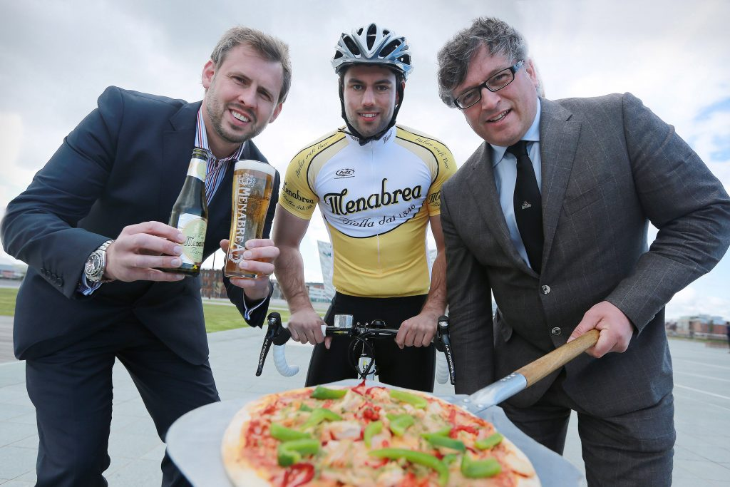 Pictured getting into training for a taste of Italian sport and sociability is cyclist Reuben Hasson from Kilrea, supported by (left) Brian Beattie, Marketing Director for Tennent's NI, and Darach McQuaid, Event Director for the Gran Fondo.