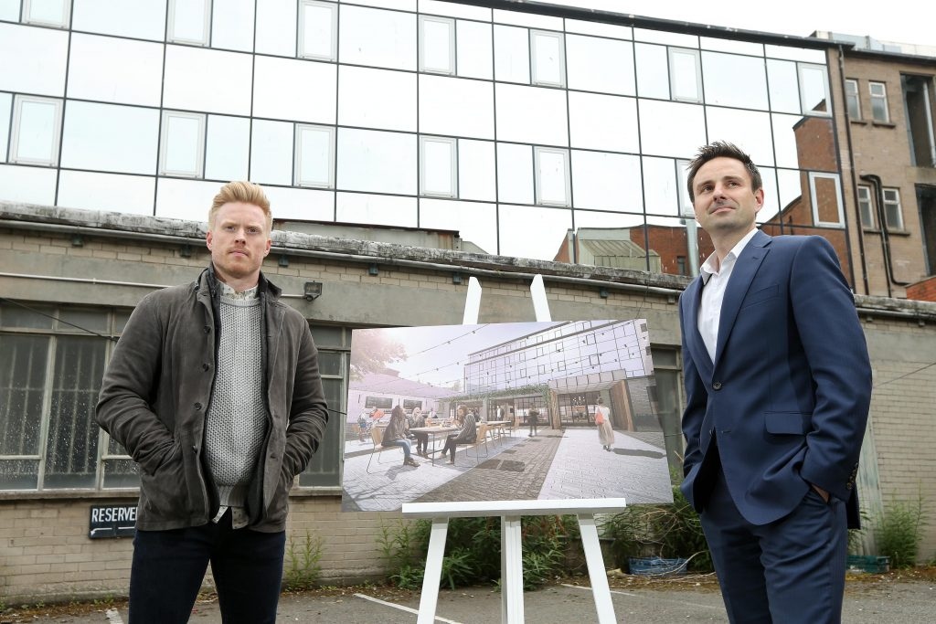 Pictured unveiling plans for the latest addition to the Beannchor group's portfolio are Conall Wolsey, managing director and James Sinton, finance director, Beannchor. Belfast's newest hotel will open in early 2016, situated in Lagan House, formerly occupied by the Department of Justice, which wraps round Victoria Street and Ann Street in the heart of the city centre.  Picture by Kelvin Boyes, Press Eye.