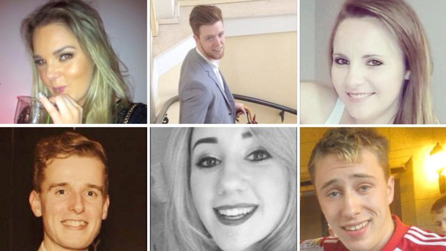 The six young people who died after the balcony collapsed in Berkeley, California, From top left: Olivia Burke, Eoghan Culligan, Ashley Donohoe, Lorcan Miller, Eimear Walsh and Nicolai Schuster