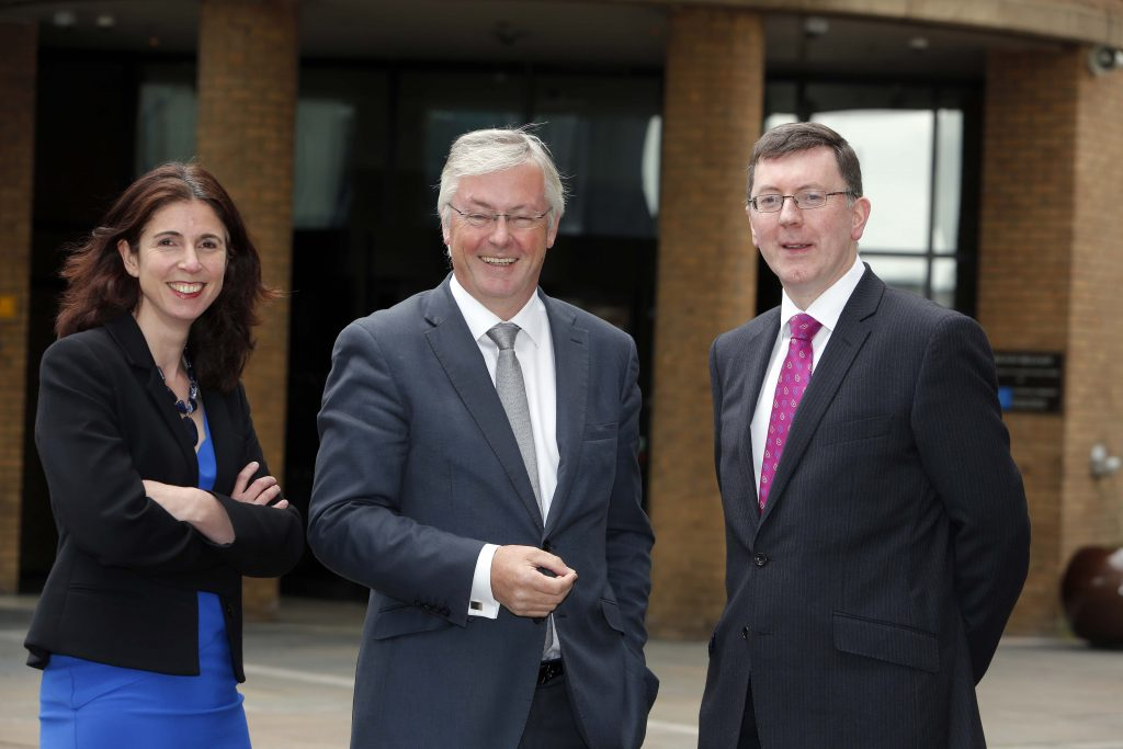 .Pictured today are Rain Newton-Smith, CBI Director, Economics and  Colin Walsh CBI NI Chairman, Alan Bridle, UK Economist and Market Analyst, Bank of Ireland UK Plc Picture by Press Eye