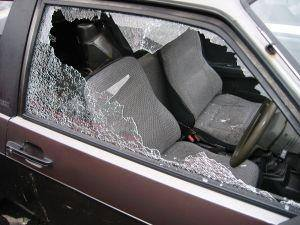 One of the vehicles damaged in south Belfast during break in