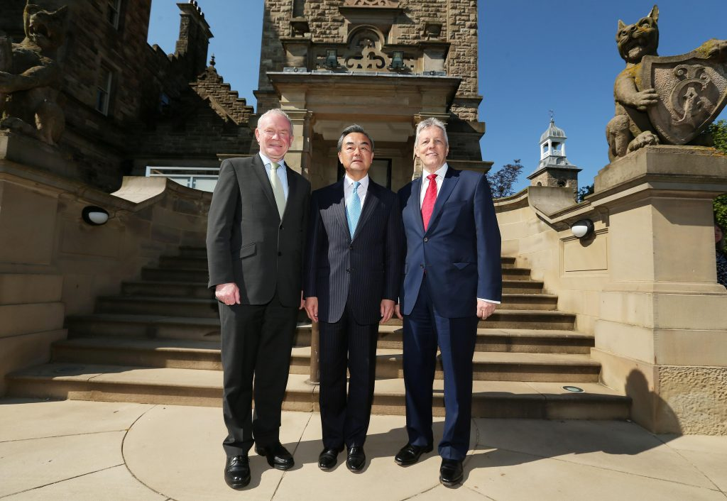 First Minister Peter Robinson, and deputy First Minister Martin McGuinness, today met with the Chinese Foreign Minister, Wang Yi at Stormont Castle ahead of the inauguration Ceremony of the Chinese Consulate in Belfast. Picture by Kelvin Boyes / Press Eye.