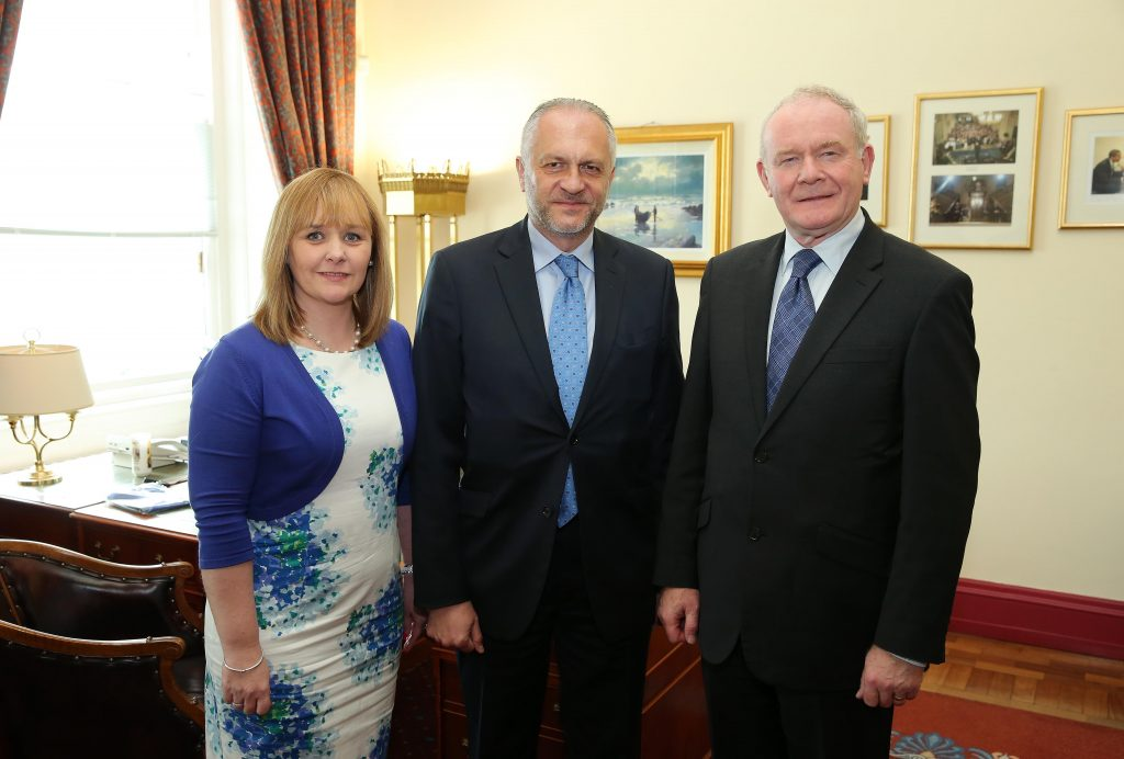The deputy First Minister Martin McGuinness MLA and Junior Minister Michelle McIlveen MLA are pictured today meeting with His Excellency, Witold Sobków the Polish Ambassador to the UK at Parliament Buildings, Stormont. Picture by Kelvin Boyes / Press Eye.