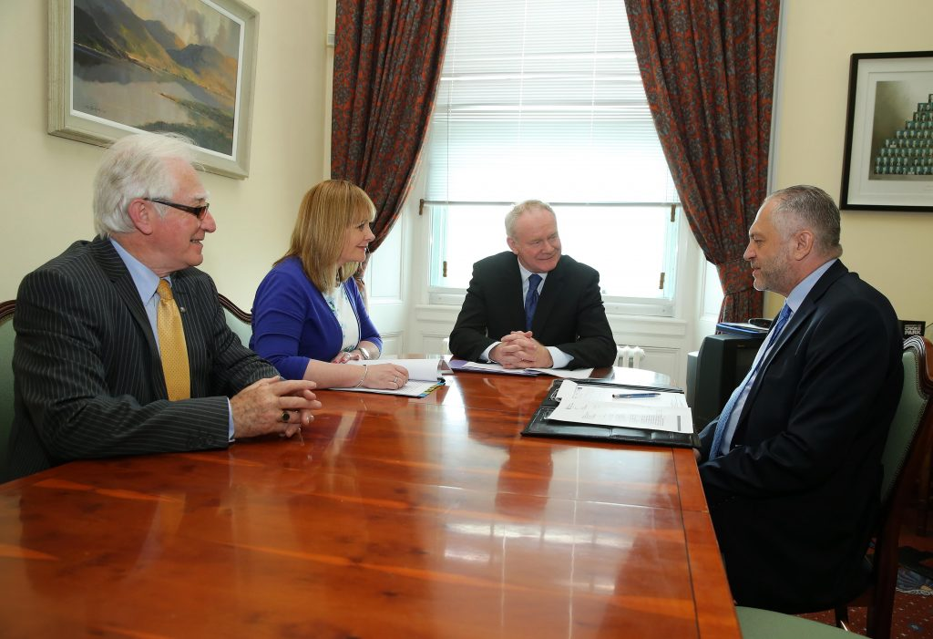 The deputy First Minister Martin McGuinness MLA and Junior Minister Michelle McIlveen MLA are pictured today meeting with His Excellency, Witold Sobk—w the Polish Ambassador to the UK at Parliament Buildings, Stormont. Also pictured is Jerome Mullen, left, Honorary Consul of Poland. Picture by Kelvin Boyes / Press Eye.
