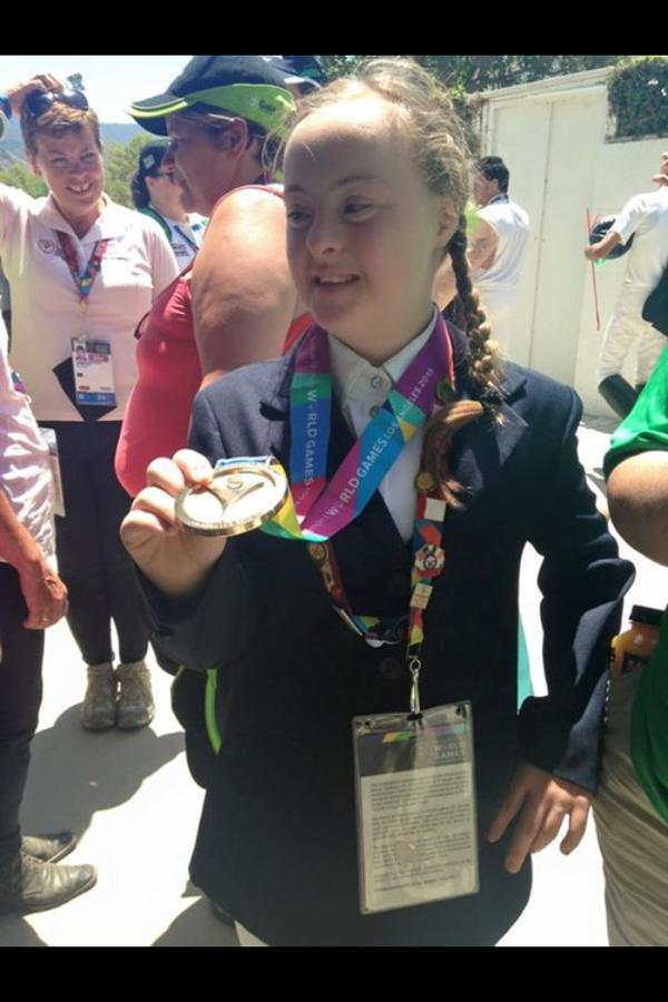 A very happy and proud Dearbhail Savage shows off her gold medal she won at Special Olympics