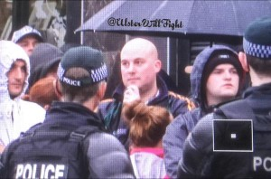 Dee Fennell spotted at Ligoniel parade this morning in north Belfast