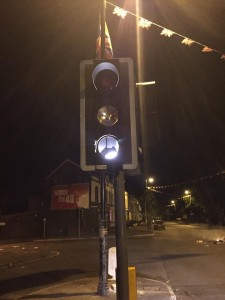 Traffic lights set on fire during rioting in north Belfast last night