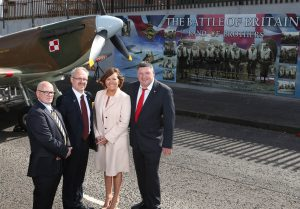 Pictured (L-R) at the unveiling of the Band of Brothers mural is Ian McLaughlin, Project Manager at the Lower Shankill Community Association, Dariusz Adler, the Polish Consul General, Jennifer Hawthorne, Head of the Housing Executive Neighbourhoods and Pete Bleakely, RAF Historian.Photographer ©Matt Mackey - Presseye.com