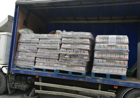 One of the lorries containing pallets of drink bottles