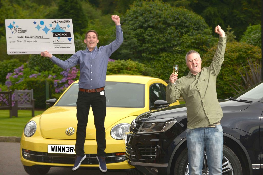 Martin McKenna (35) (green shirt) celebrated a life changing moment with one of his friends, Gerard, after the County Down man scooped a massive £1,000,000 top prize on a National Lottery Millionaire 777 Red Scratchcard, from National Lottery GameStore.