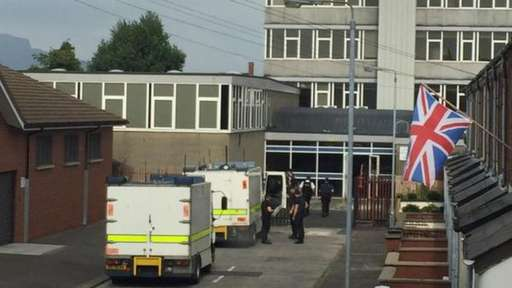 The scene of the bomb alert at Tower Campus of Belfast Metropolitan College