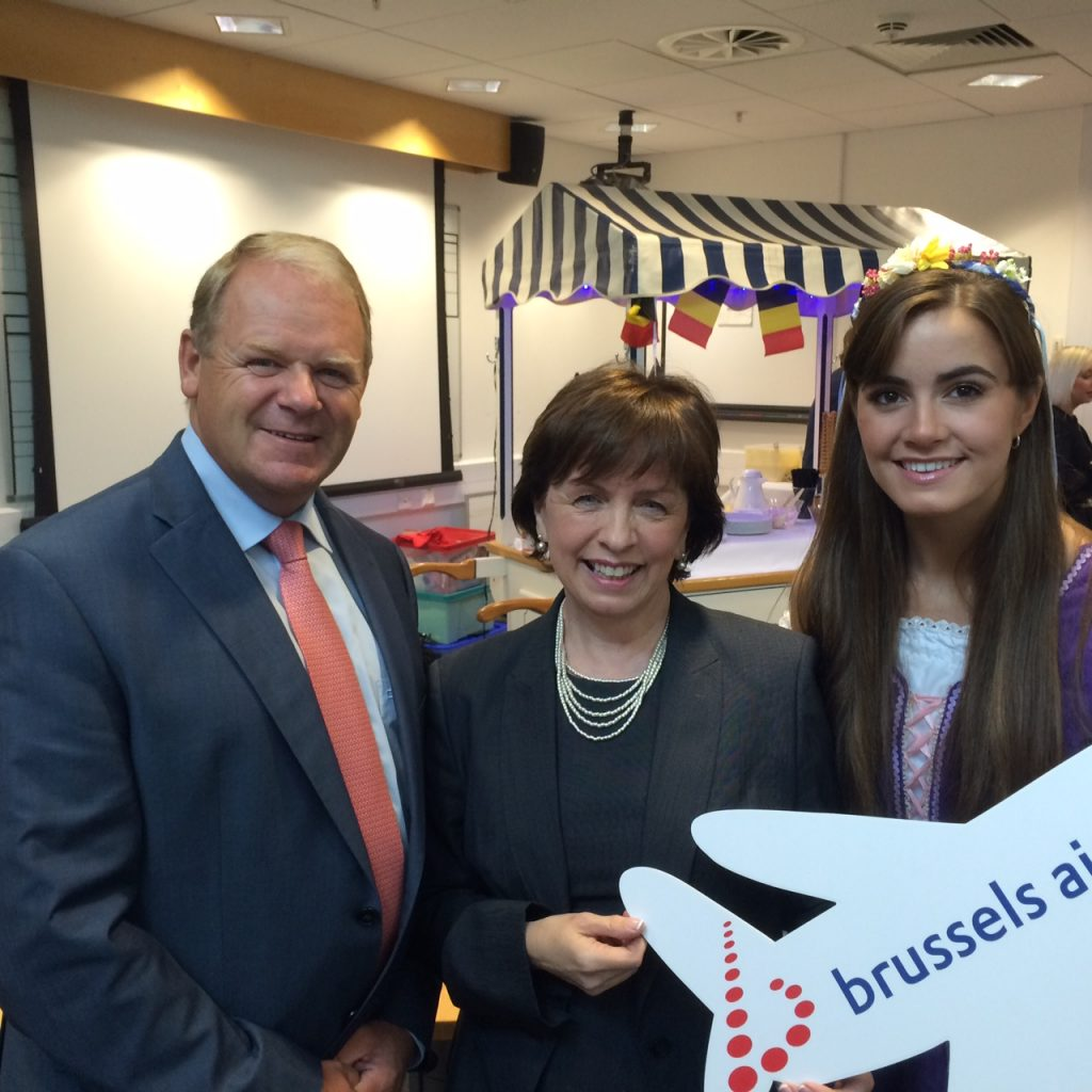 Brian Ambrose, CEO of Geroge Belfast City Airport and MEP Diane Dodds welcome launch of new flight service to Brussels
