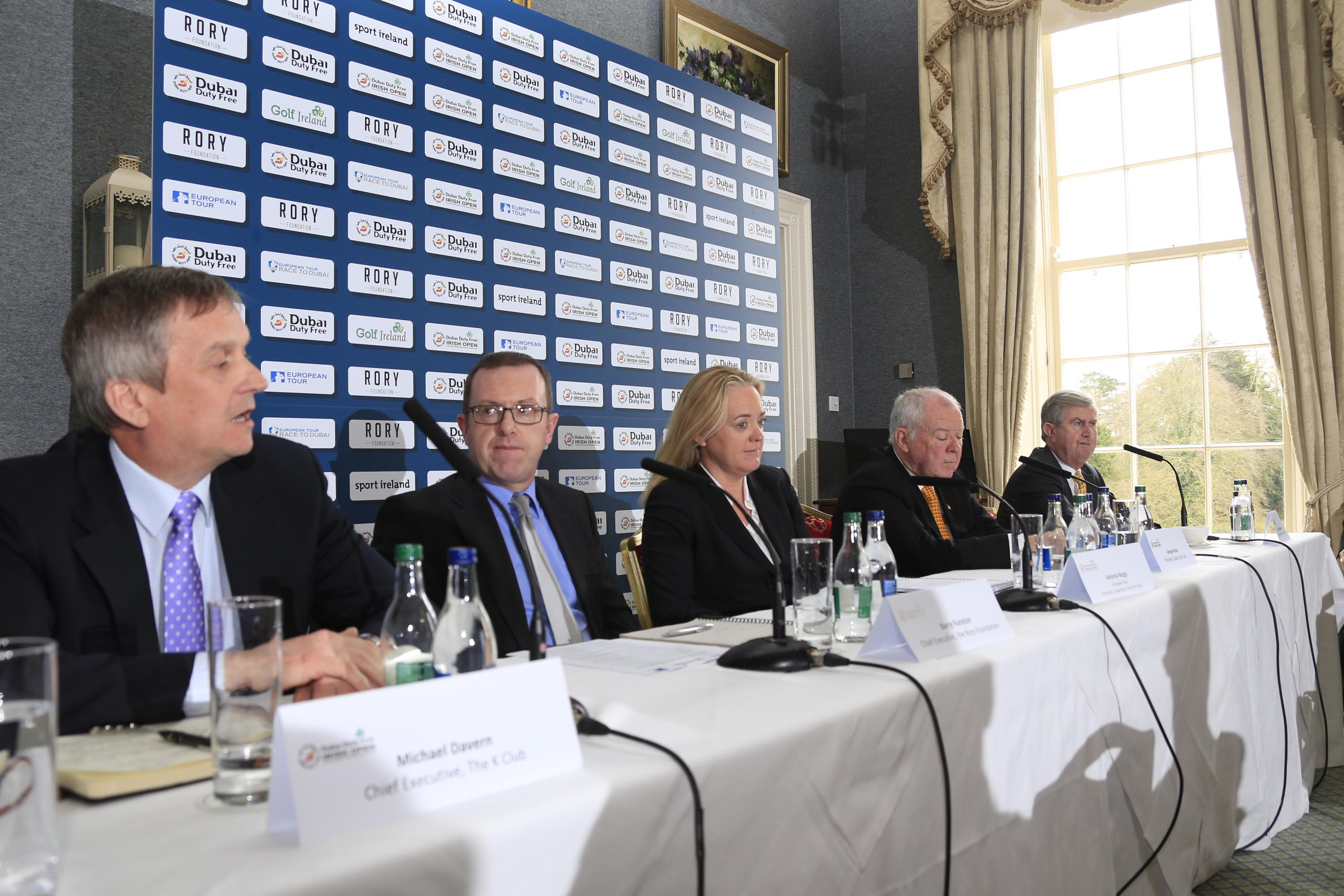 CALL TO ACTION: Golf superstar Rory McIlroy is calling on golf clubs across the island of Ireland to help him make this yearÕs Dubai Duty Free Irish Open hosted by the Rory Foundation one of the best in the tournamentÕs illustrious history. In a letter to every golf club in the Republic of Ireland and Northern Ireland, Rory has requested that clubs come together to support this yearÕs Dubai Duty Free Irish Open, which takes place at The K Club in County Kildare from May 19-22, and he has also produced his own personal Ôfive point planÕ to help clubs and their members to get involved. Announcing details of the clubs initiative are (l-r) Michael Davern, Chief Executive, The K Club, Barry Funston, Chief Executive, the Rory Foundation, Antonia Beggs, European Tour, George Horan, President Dubai Duty Free and Redmond OÕDonoghue, Chairman of the Confederation of Golf in Ireland (CGI). Picture: Fran Caffrey | Golffile All photos usage must carry mandatory copyright credit (© Golffile | Fran Caffrey)