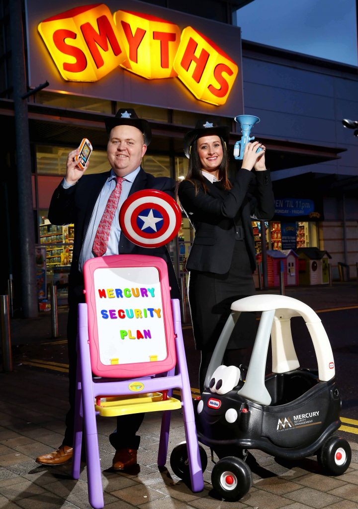 TOY STORY: Grainne Elliot and Liam Cullen of Mercury Security Management celebrate the announcement that Mercury has been awarded the all-Ireland security contract for Smyths Toys. The Smyths security contract will see Mercury provide a team of well-equipped manned guards, with fast access to additional support and resources if required, to all 27 Smyths stores across the island of Ireland, including six in Northern Ireland. Founded in County Mayo in 1986, Smyths is Ireland's biggest toy retailer and now operates no fewer than 80 stores throughout Ireland and the UK.