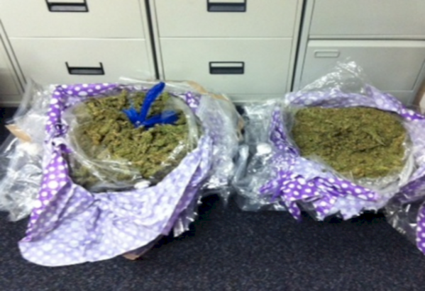 Police picture of some of the £400,000 herbal cannabis haul seized