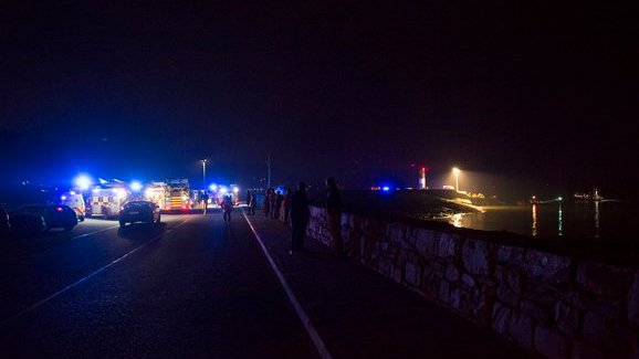 Emergency services at the scene of the drowing tragedy at Buncrana pier in Donegal