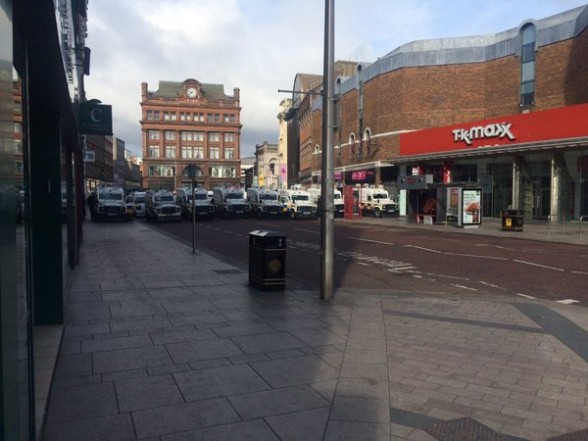The scene in Royal Avenue in Belfast city centre earlier today ahead of republican parade