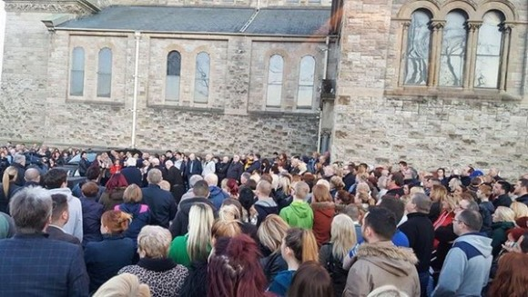 Hundreds of people gather for vigil this evening to support Michael McGibbon's widow Joanne and her children