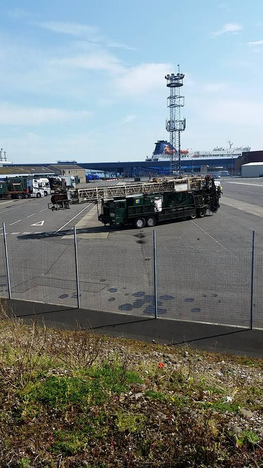 The controversial drill for Woodburn Forest arrives in Larne Harbour