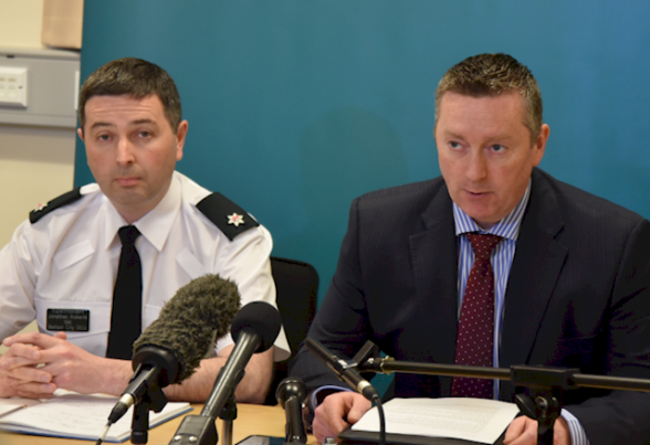 PSNI Supt Jonathan Roberts and DCI Richard Campbel at a press conference today in Dan Murry's cold blooded murder