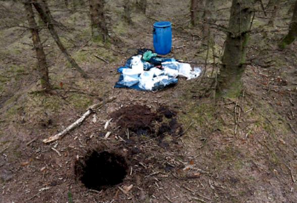 The dissident republican bomb hid found at Capanagh forest in Larne