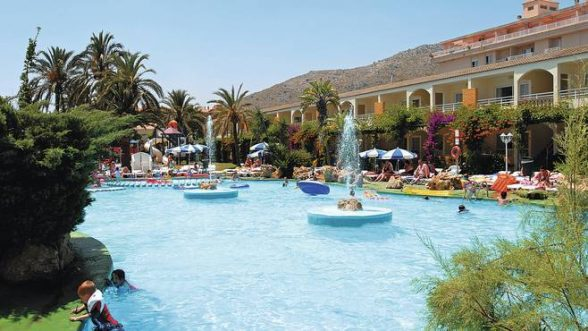The inviting pool at the Club Mariner Apartments in Alcudia, Majorca. A family of four an stay for £1,345