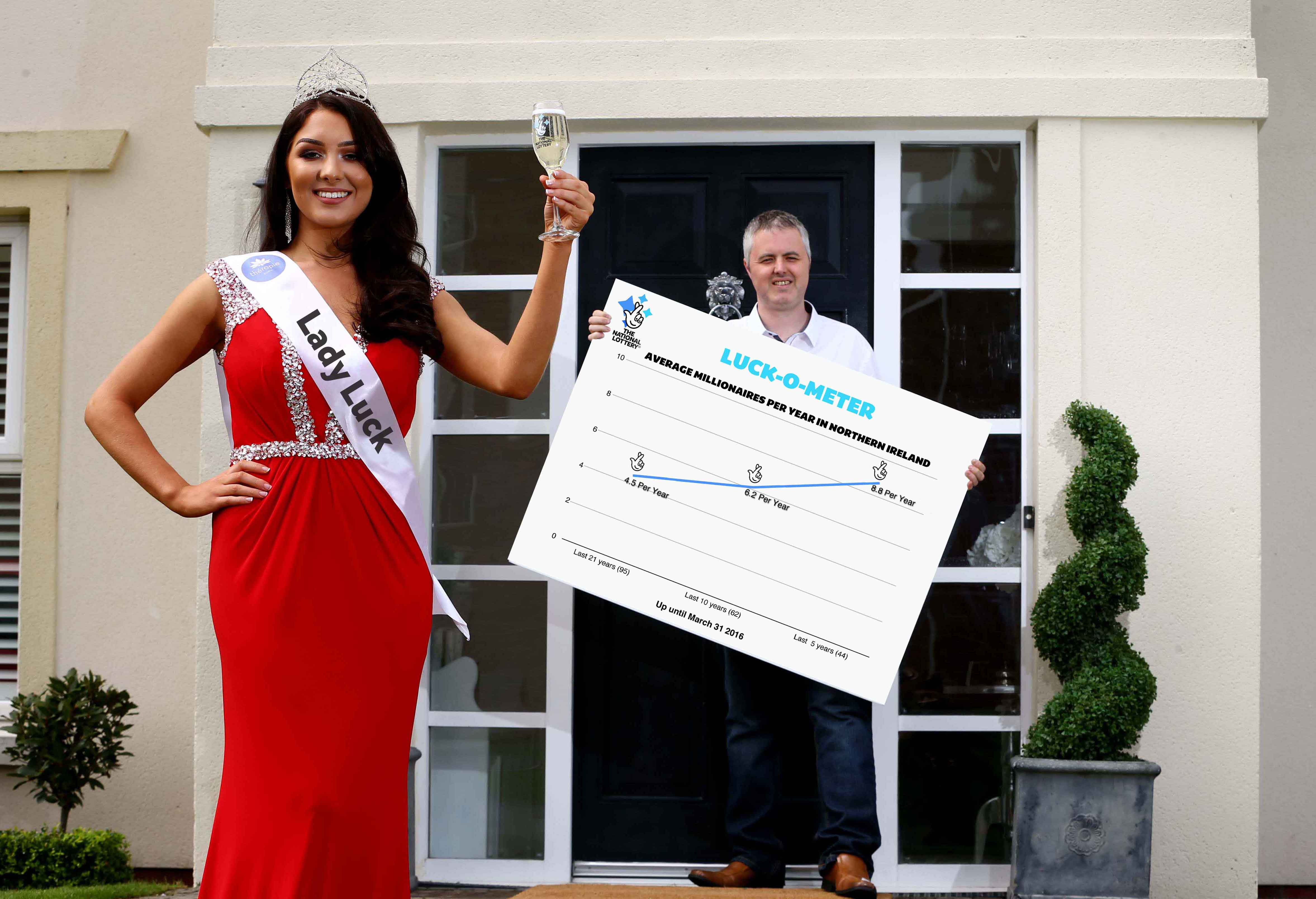LUCK ON YOUR DOORSTEP: 'Lady Luck', aka newly crowned Miss Northern Ireland Emma Carswell, has certainly been shining on this part of the world in recent years after The National Lottery revealed that Northern Ireland is currently enjoying a lucky Lottery streak. Belfast man Martin McKenna (right), who won £1M on a National Lottery Scratchcard last year, is one of 95 millionaires that have been created here since the very first Lotto draw in 1994. However, more than half of Northern Ireland's Lottery millionaires (48 to be precise) have hit the jackpot in the last five years. Lottery mathematicians also revealed that someone in Northern Ireland has won a massive National Lottery prize of £50,000 or more EVERY 11.3 DAYS, on average, since 1994. In fact, in the more recent period from March 2013 until March 31, 2016, a prize of more than £50k has been won in Northern Ireland EVERY 7.7 DAYS on average - with a total of 146 'high tier' winners in this 37 month period. It isn't just individuals winning big. Last year alone, more than £40 million of National Lottery funding was awarded in Northern Ireland with a total of 957 Lottery grants providing a vital boost to arts, sports and heritage projects alongside community groups helping those most in need.
