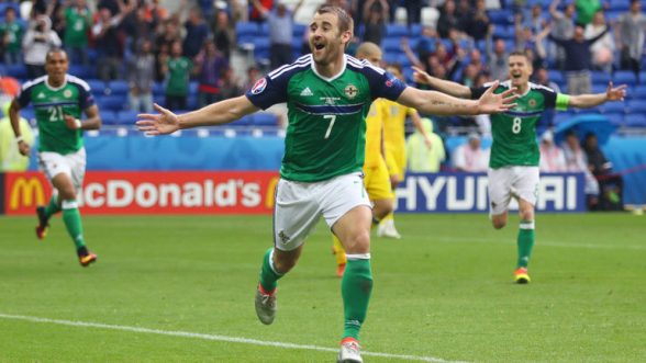 Niall McGinn score the injury winner against Ukraine to secure the three points and their first win
