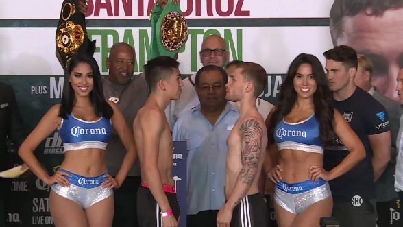 THE TALE OF THE TAPE...Frampton and Santa Cruz go toe to toe at weigh in