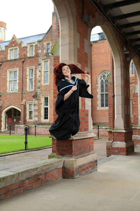 JUMPING FOR JOY...Billie-Jo McDowell graduated today with a degree in Georgraphy