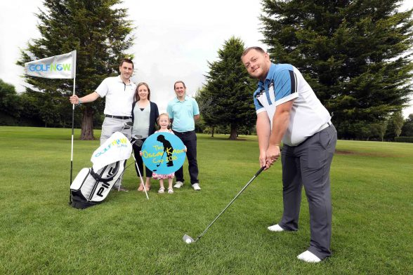 Pictured getting ready for the event at Fortwilliam Golf Club are (L-R) Stephen Knox, Leona Knox, Isobella Knox, Andrew Hollywood of GolfNow and snooker player Mark Allen. Teams can register by emailing oscarknoxcup@gmail.com but places are limited so people will need to be quick to avoid disappointment.