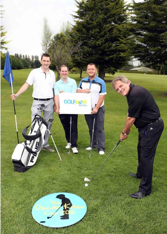 Pictured getting ready for the event at Fortwilliam Golf Club are (L-R) Stephen Knox, Andrew Hollywood of GolfNow, snooker player Mark Allen and sports commentator Adrian Logan.