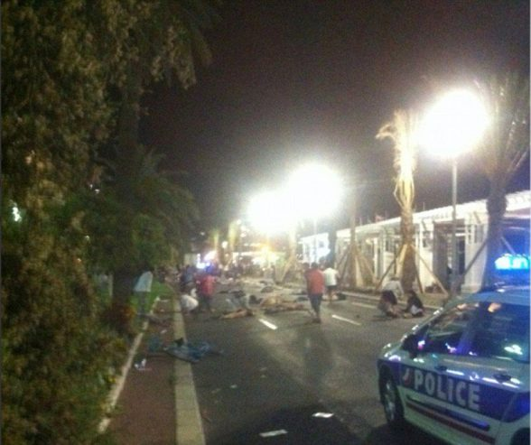 The aftermath of a truck mowing down dozens of people killing 30 and injuring 100