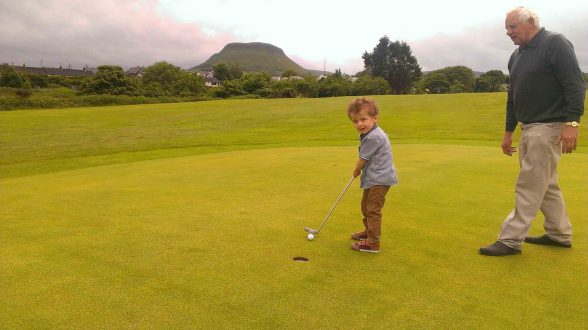 GET IN THE THE HOLE....Little Oscar Knox who loved to play golf died in May 2014