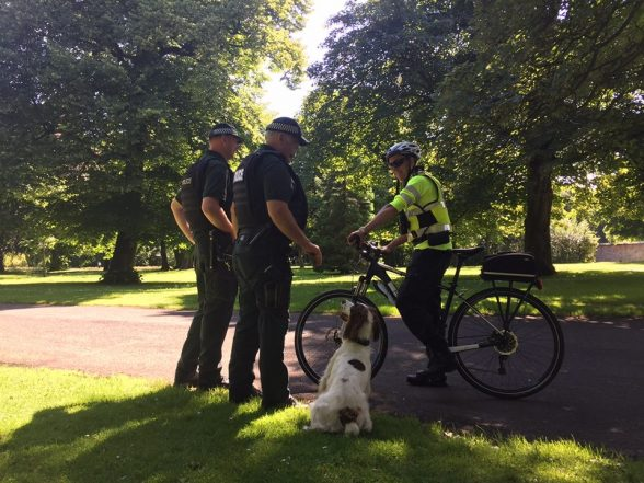 Cycle patrol cops and PSNI dogs unit in Ormeau Park today to nab a couple of drug dealers