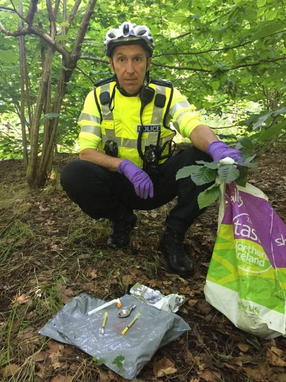 Supt Muir Clark with a big seized from drug dealers in Ormeau Park today