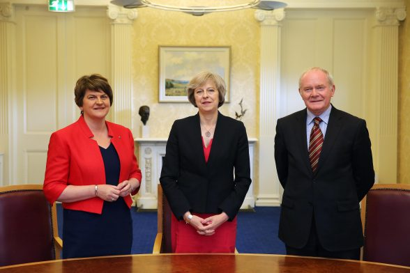 Prime Minister Theresa May is pictured with First Minister Arlene Foster, deputy First Minister Martin McGuinness at Stormont Castle, Belfast. PIC: KELVIN BOYLES/PRESS EYE Photo by Kelvin Boyes / Press Eye