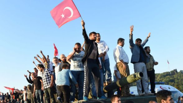 People on the streets of Turkey celebrating as military coup fails