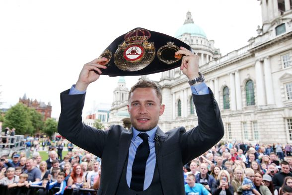 Boxer Carl 'The Jackal' Frampton pictured at the homecoming celebration at City Hall, Belfast. The event took place in recognition of Carl Frampton, the first Northern Ireland boxer to win world championships at two different weights. Photo by Kelvin Boyes / Press Eye